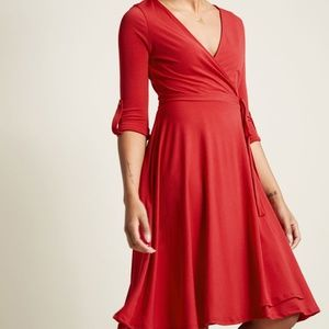 Red Modcloth Say Yes to the Timeless Wrap Dress
